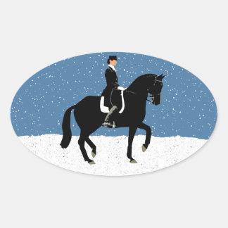 Snowy Dressage Horse Christmas Oval Sticker