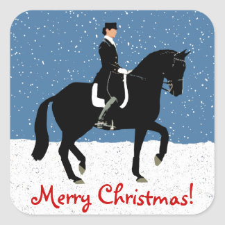 Snowy Dressage Horse Christmas Square Sticker
