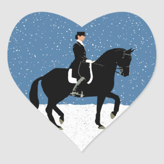 Snowy Dressage Horse Christmas Heart Sticker