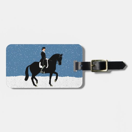 Snowy Dressage Horse Christmas Tag For Luggage