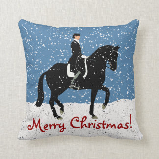 Snowy Dressage Horse Christmas Throw Pillow