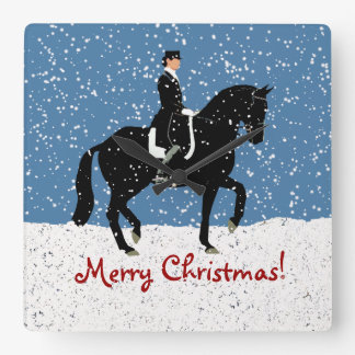 Snowy Dressage Horse Square Wall Clock