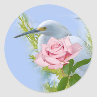 Snowy Egret and Pink Rose Sticker