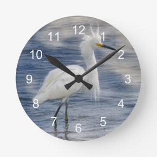 Snowy Egret Animal Wildlife Round Clock