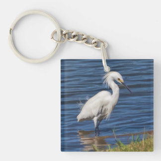 Snowy Egret at the Pond Double-Sided Square Acrylic Keychain