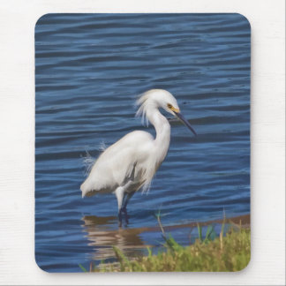 Snowy Egret at the Pond Mouse Pad