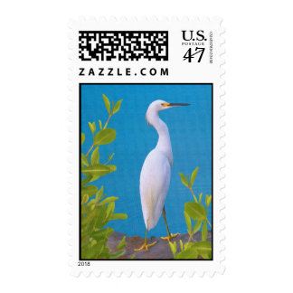 Snowy Egret at the Pond Postage