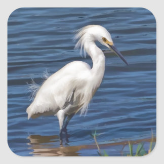 Snowy Egret at the Pond Square Sticker
