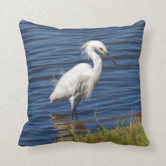 Snowy Egret at the Pond Throw Pillow
