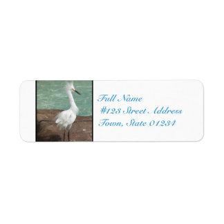 Snowy Egret Bird Custom Return Address Labels
