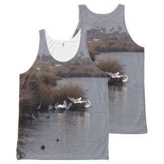 Snowy Egret Birds Fishing Wildlife Animals Wetland All-Over Print Tank Top