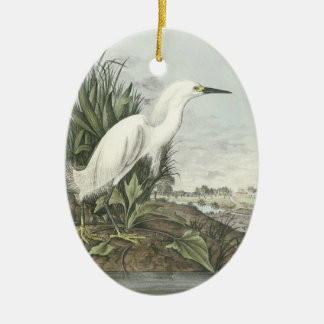 Snowy Egret by Audubon Ceramic Ornament