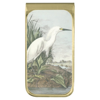 Snowy Egret by Audubon Gold Finish Money Clip