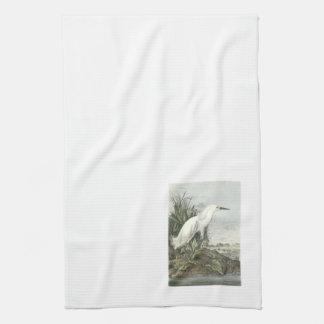 Snowy Egret by Audubon Hand Towel