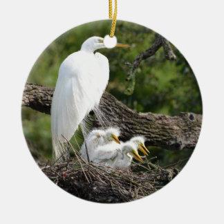 Snowy Egret Family Ceramic Ornament