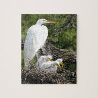 Snowy Egret Family Jigsaw Puzzle