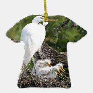Snowy Egret Family Ceramic T-Shirt Ornament