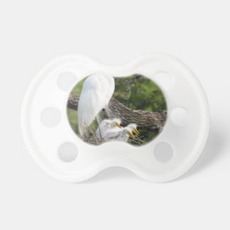 Snowy Egret Family Pacifier