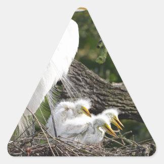 Snowy Egret Family Triangle Sticker