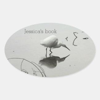 Snowy egret fishing bookplate