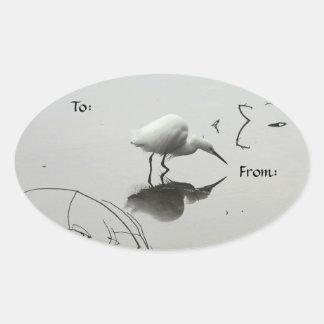 Snowy egret fishing gift tag sticker