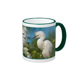 Snowy Egret Good Morning Ringer Coffee Mug