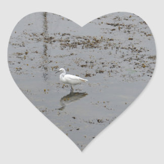 Snowy Egret Heart Sticker