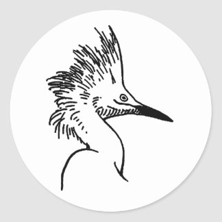 Snowy Egret Illustration Classic Round Sticker