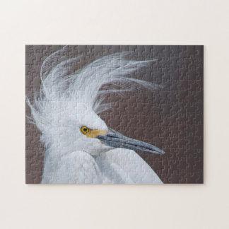 Snowy Egret in Breeding Plumage Wildlife Puzzle