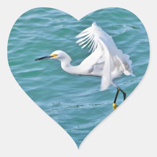Snowy Egret In Flight Heart Sticker