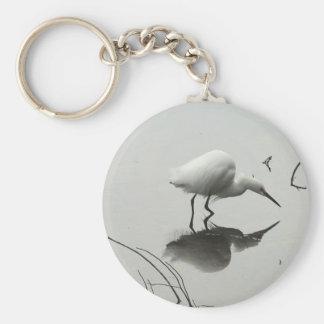 snowy egret keychain