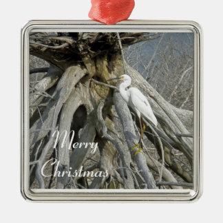 Snowy Egret Merry Christmas Ornament