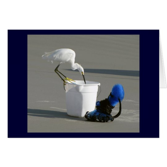 Snowy Egret on a Bait Bucket Card