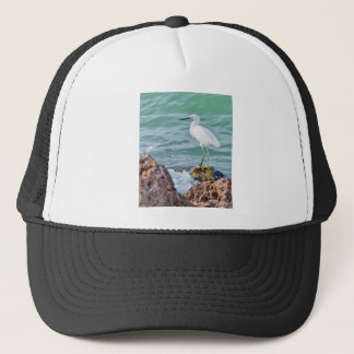 Snowy Egret on the Rocks Trucker Hat