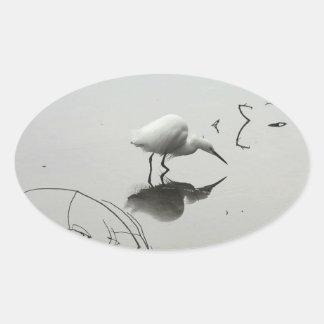 snowy egret oval stickers
