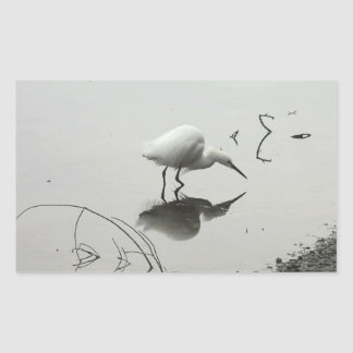 snowy egret rectangle stickers
