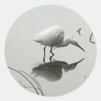 snowy egret round stckers classic round sticker