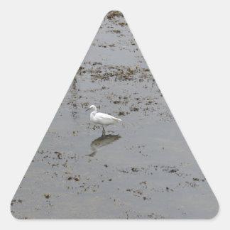 Snowy Egret Triangle Stickers