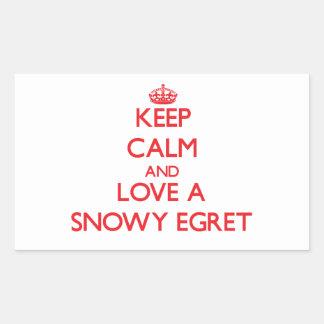 Snowy Egret Rectangle Sticker