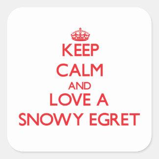 Snowy Egret Square Stickers