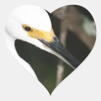 Snowy Egret Wading Bird Heart Sticker
