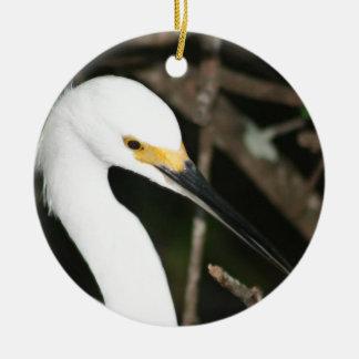Snowy Egret Wading Bird Christmas Ornaments