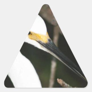 Snowy Egret Wading Bird Triangle Stickers