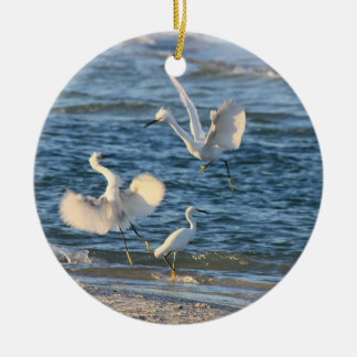 Snowy Egrets Dancing (Can be Personalized) Christmas Ornaments