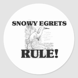 SNOWY EGRETS Rule! Round Stickers