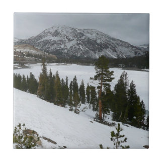 Snowy Ellery Lake California Winter Photography Ceramic Tile
