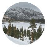 Snowy Ellery Lake California Winter Photography Classic Round Sticker
