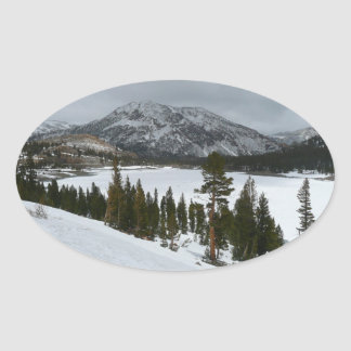 Snowy Ellery Lake California Winter Photography Oval Sticker