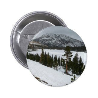 Snowy Ellery Lake California Winter Photography Pinback Button