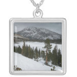 Snowy Ellery Lake California Winter Photography Silver Plated Necklace